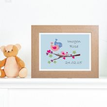 Baby Bird Artwork - Personalised Nursery Print - Unique Baby Gift